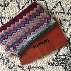 Missoni metallic wool blend knit scarf NWT